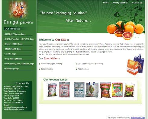 Durga Packers India Web Design