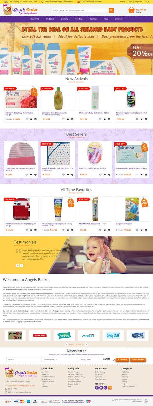 Angels Basket India Web Design