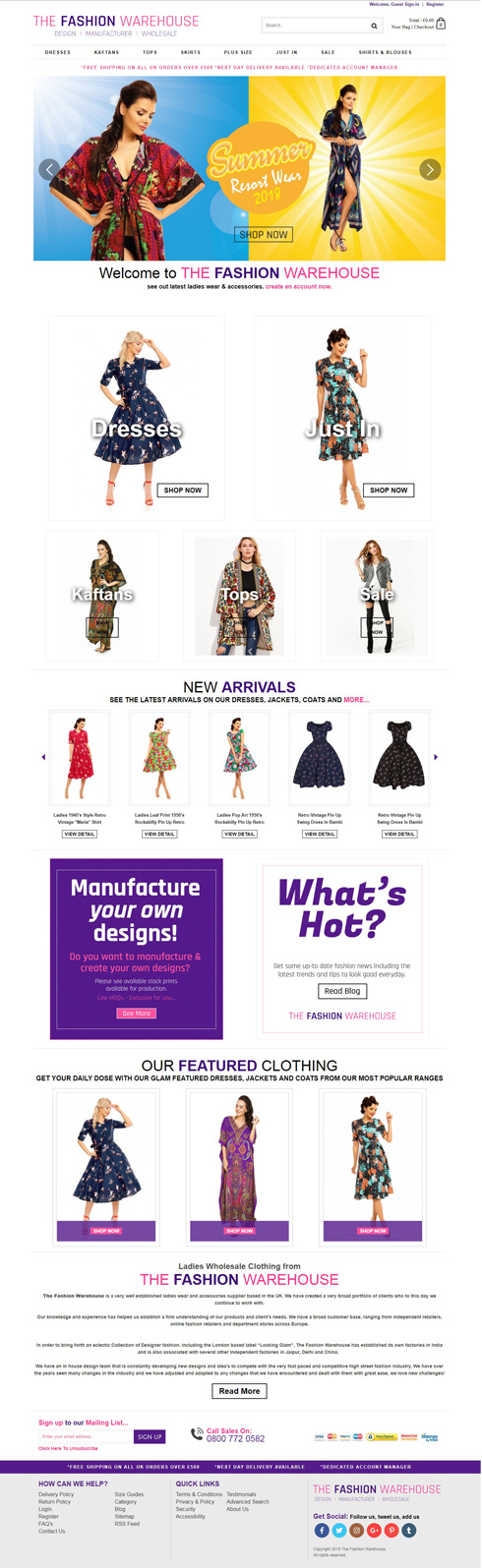 The Fashion Warehouse United Kingdom Web Design