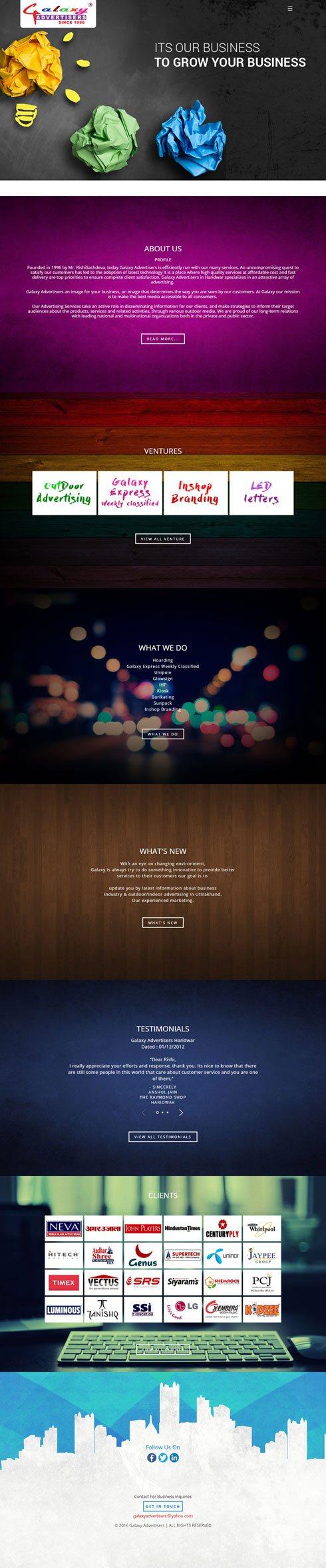 Galaxy Advertiser India Web Design