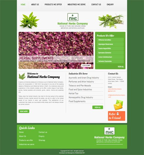 National Herbs Company India Web Design