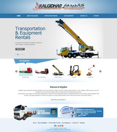 Kalgidhar Heavy Equipment Rentals United Arab Emirates Web Design