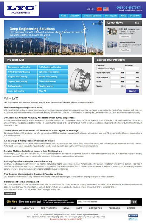 LYC Bearing Corporation India Web Design