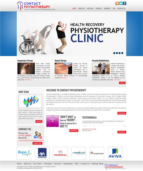 Contact Physiotherapy United Kingdom Web Design