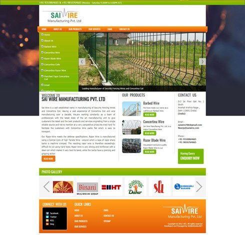 Sai Wire Manufacing Pvt. Ltd. India Web Design