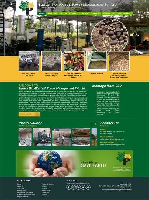 Perfect Bio-waste and Power Management Pvt Ltd. India Web Design