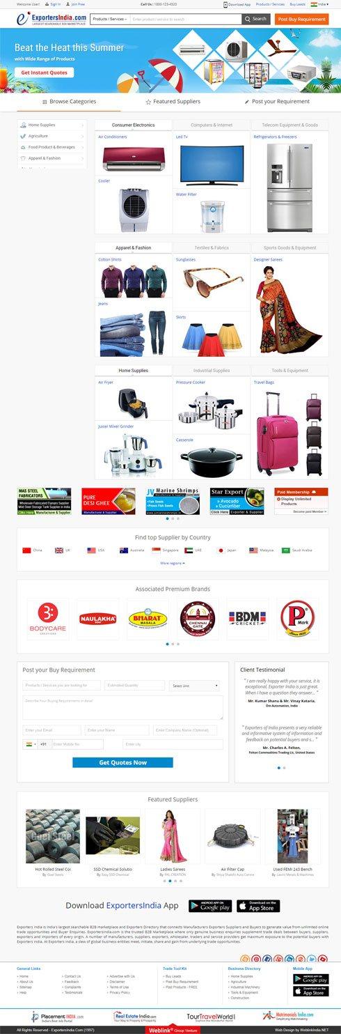 Exportersindia India Web Design