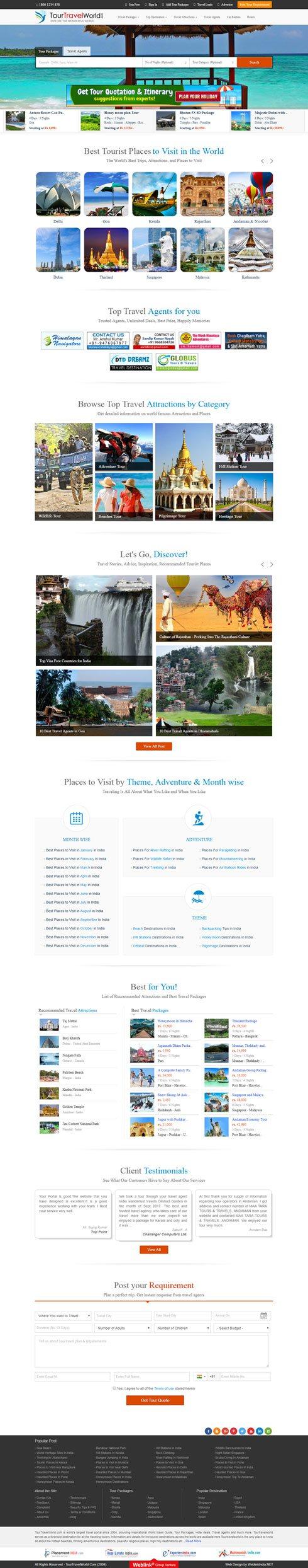 TourTravelWorld India Web Design