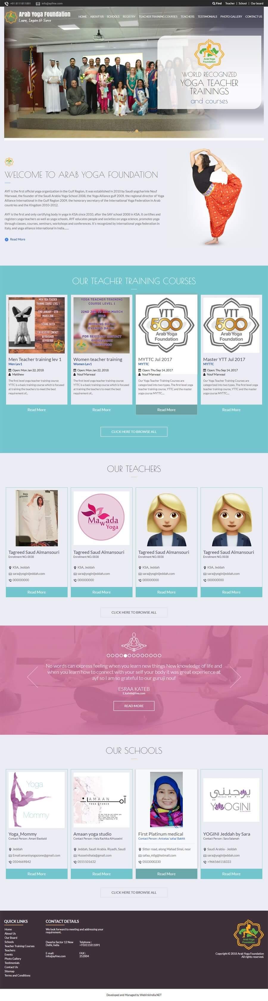 Arab Yoga Foundation - Web Design Portfolio