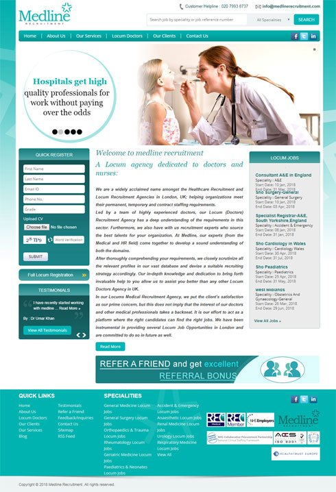 Medline Recruitment United Kingdom Web Design