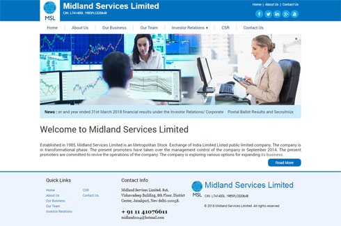 Midland Services Limited India Web Design