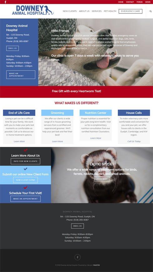Downey Animal Hospital Canada Web Design