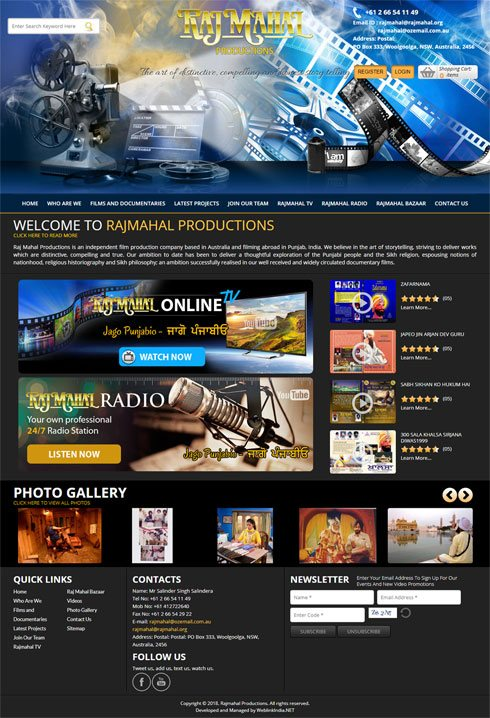 Rajmahal Productions Australia Web Design