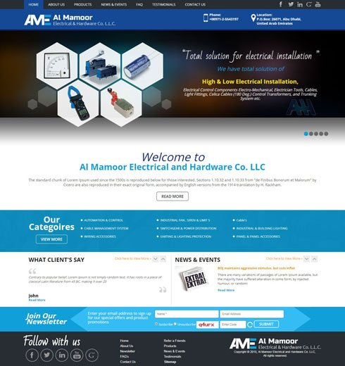 Al Mamoor Electrical And Hardware Co. LLC - Web Design Portfolio
