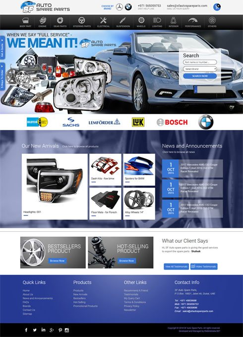 Auto Spare Parts United Arab Emirates Web Design