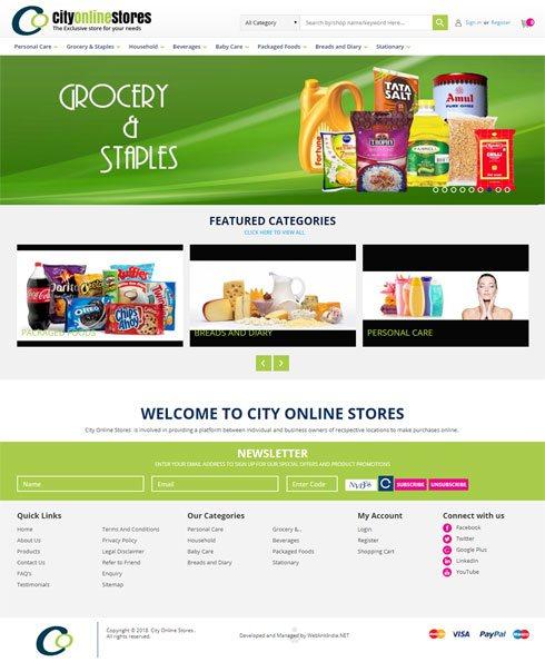 city kirana shop India Web Design