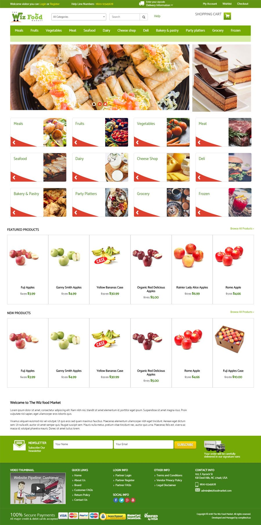 Wiz Food Market India Web Design