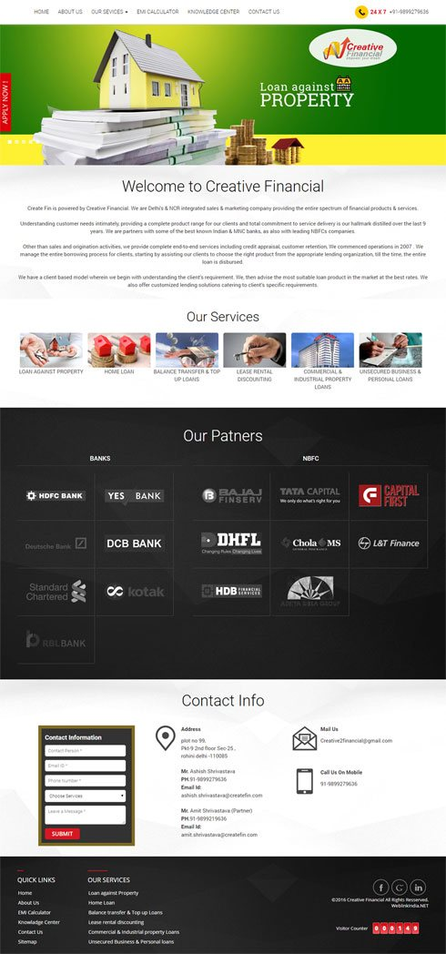 Creative Financial India Web Design