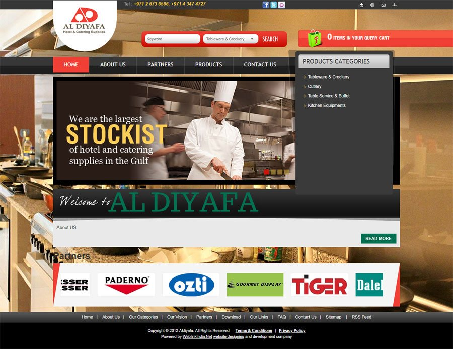 Al Diyafa Hotel & Catering Supplies United Arab Emirates Web Design