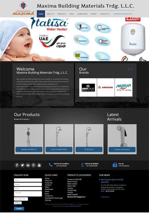 Maxima Building Materials United Arab Emirates Web Design