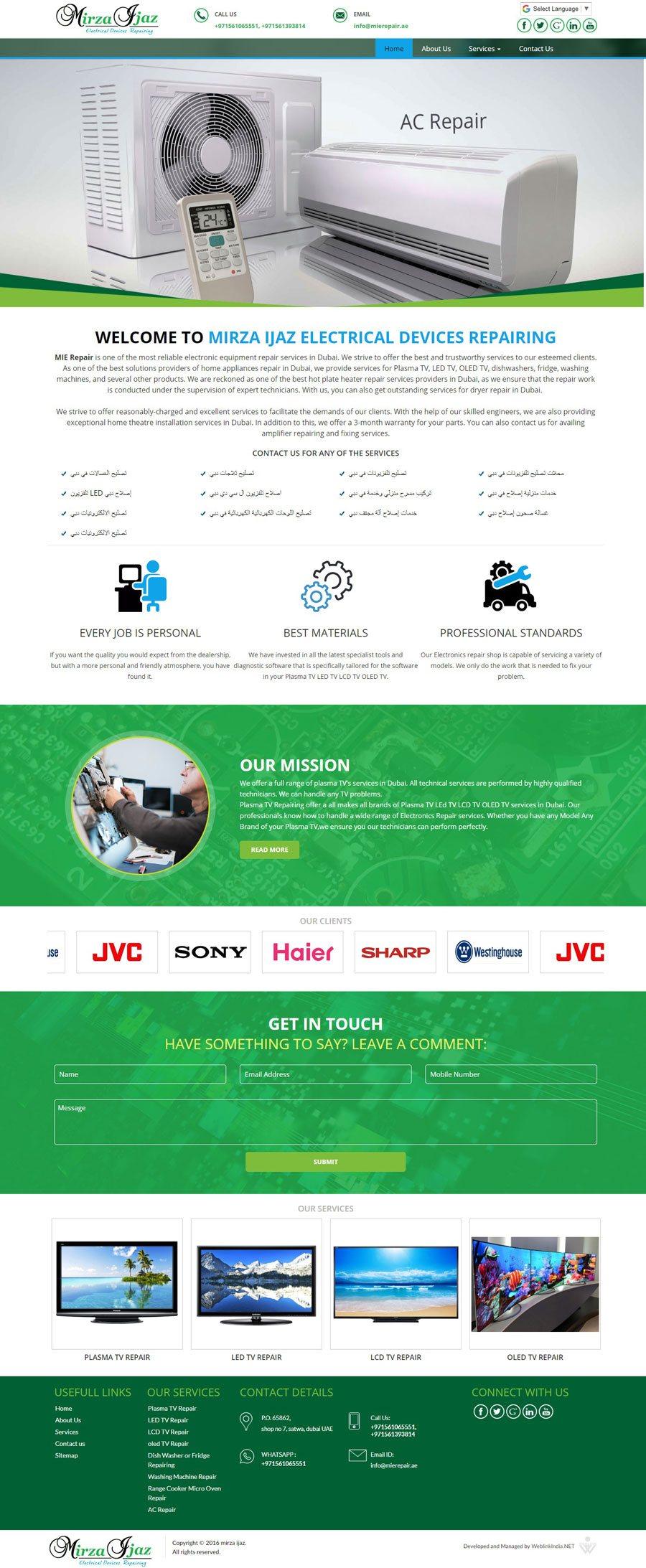 MIRZA IJAZ ELECTRICAL United Arab Emirates Web Design