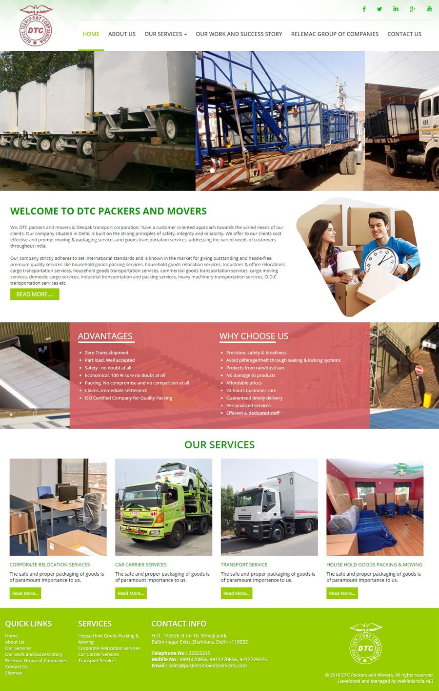 DTC PACKERS AND MOVERS - Web Design Portfolio