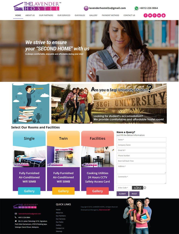 Lavender Hostel Malaysia Web Design