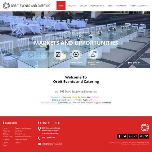 Orbit Events and Catering  Jordan Web Design