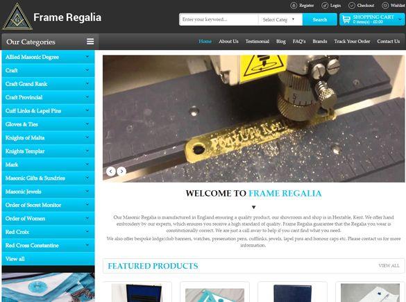 Frame Regalia United Kingdom Web Design