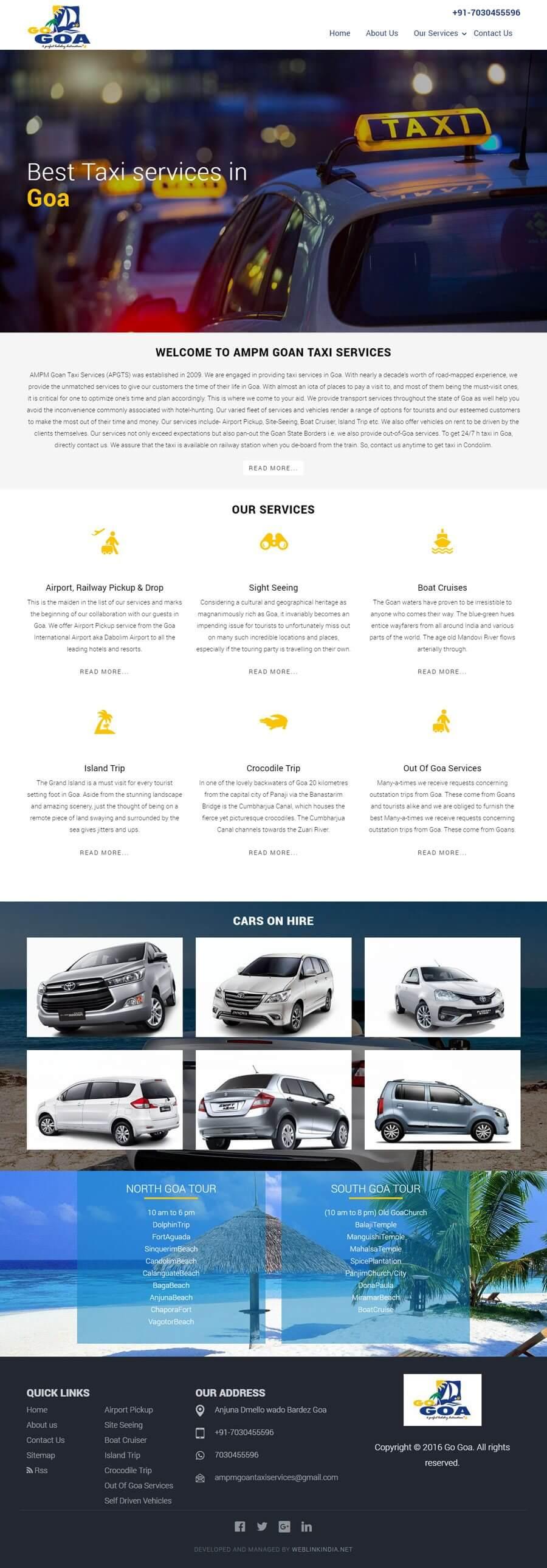 GOAN TAXI SERVICES India Web Design