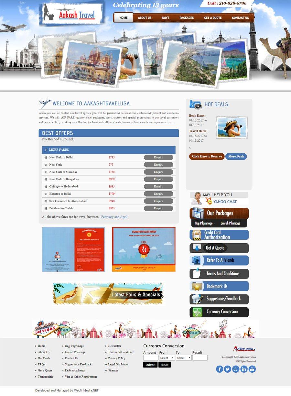 Aakashtravelusa United States Web Design