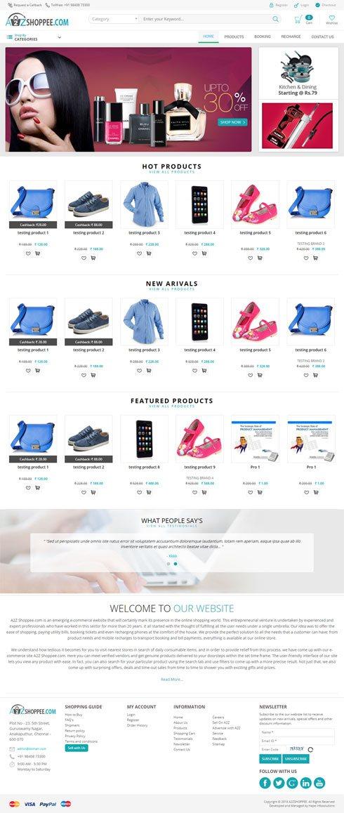 A2Z Shoppee.com - Web Design Portfolio
