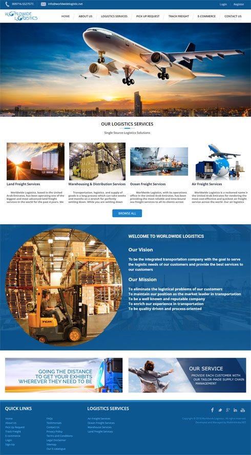 Worldwide Logistics United Arab Emirates Web Design