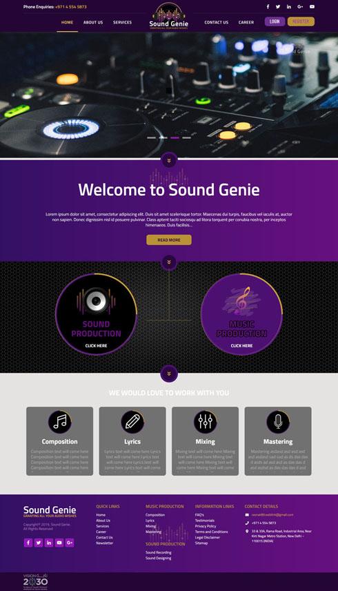 Sound Genie India Web Design