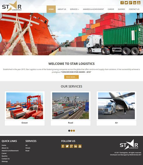 Star logistics India Web Design