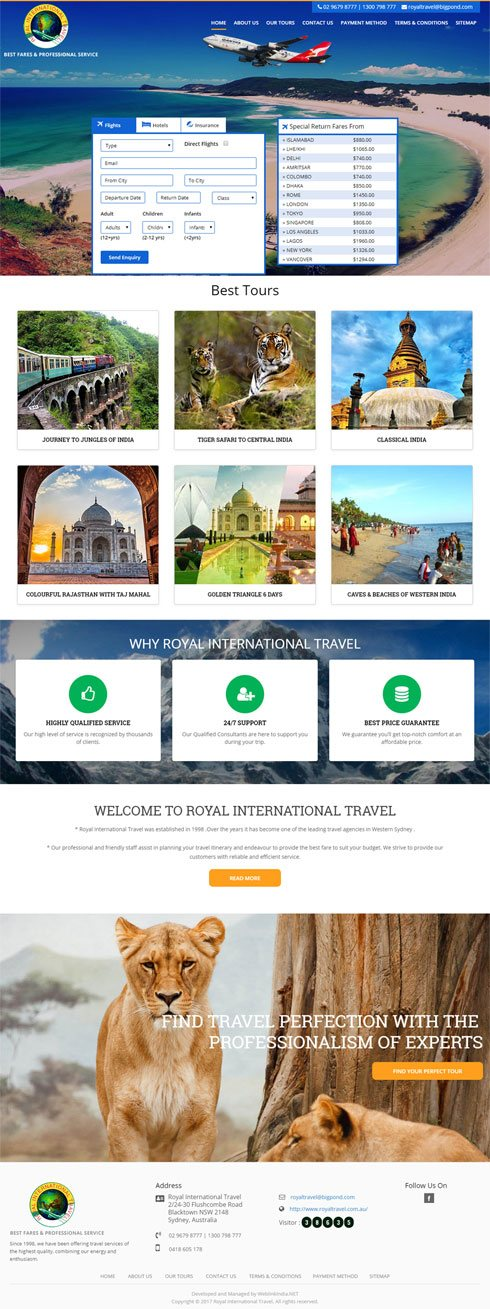 Royal International Travel  Australia Web Design