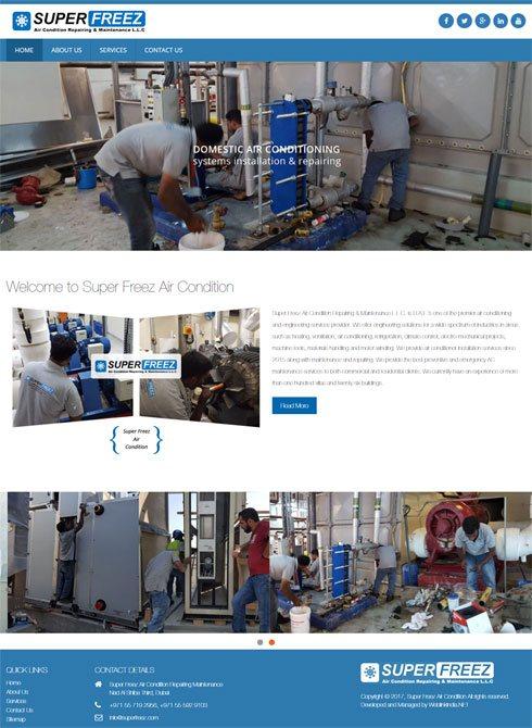 Super Freez Air Condition United Arab Emirates Web Design