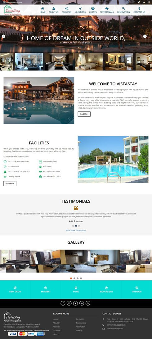 Vista Stay India Web Design
