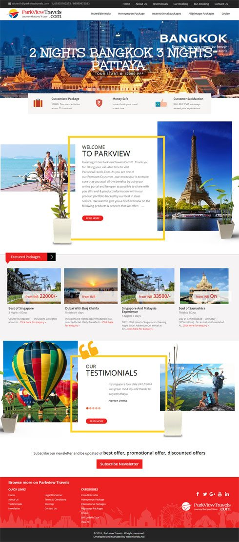 Parkview Travels India Web Design