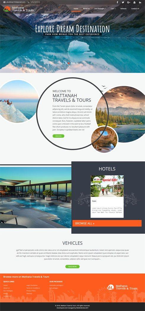 Mathana Travels & Tours India Web Design