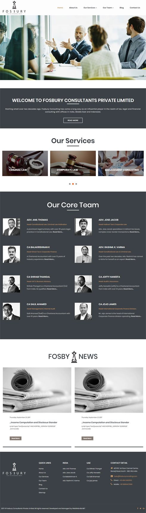 Fosbury Consultants India Web Design