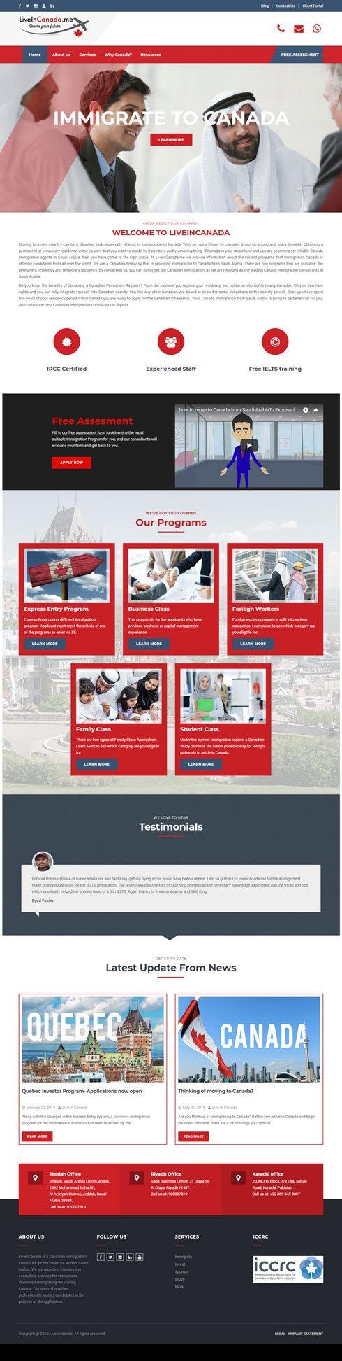 LiveInCanada.me Saudi Arabia Web Design