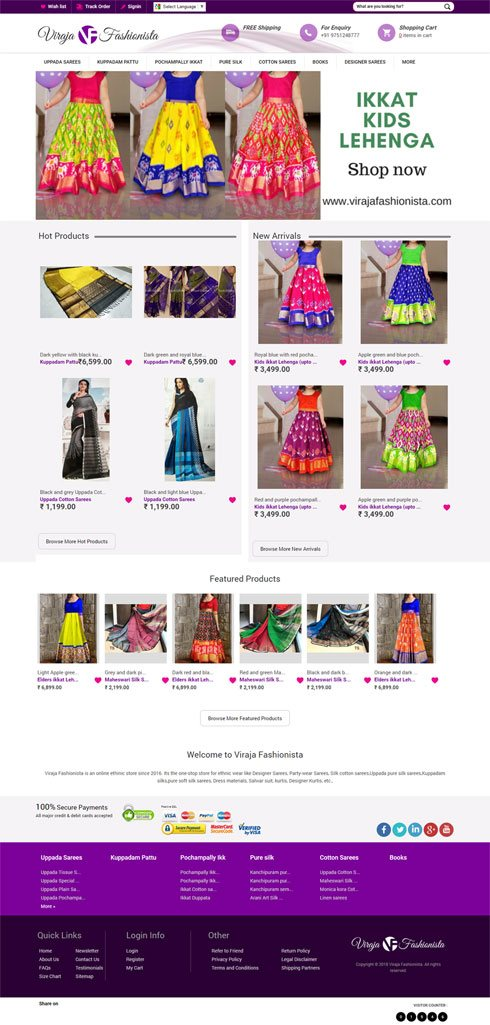Viraja Fashionista India Web Design