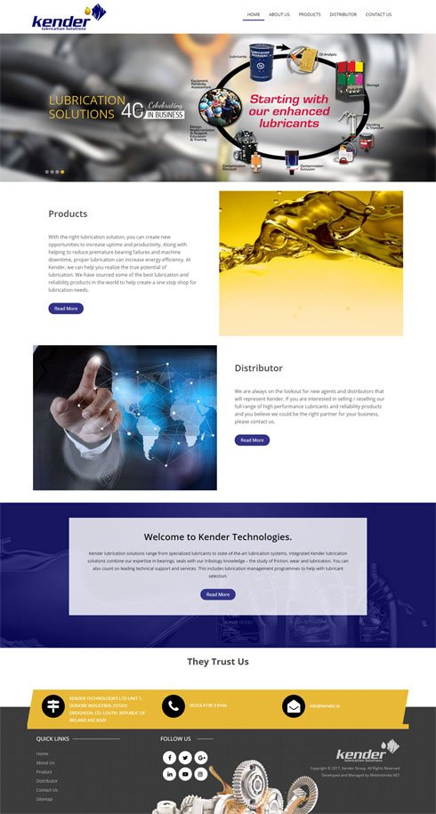 Kender Lubrication Solutions Ireland Web Design