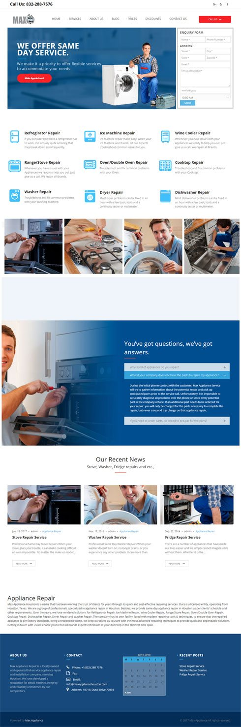 Max Appliance United States Web Design