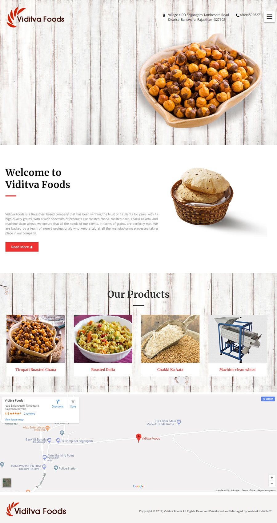 Viditva Foods India Web Design