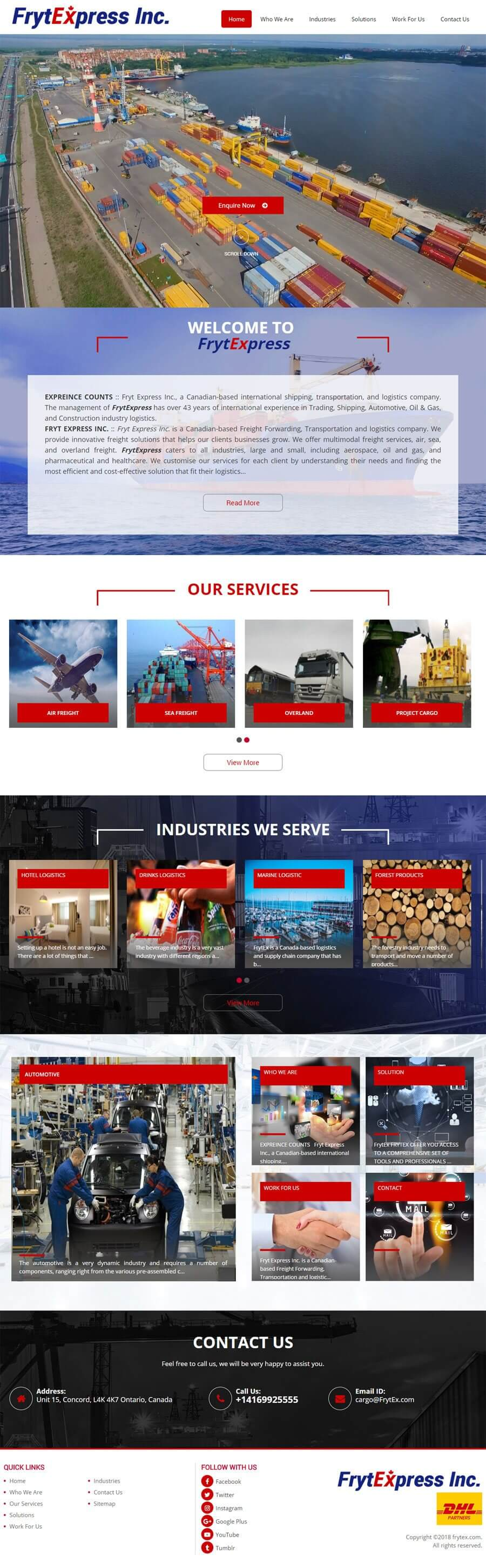 Fryt Express Inc Canada Web Design