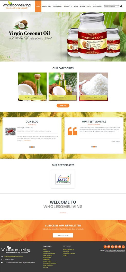 Wholesomeliving India Web Design