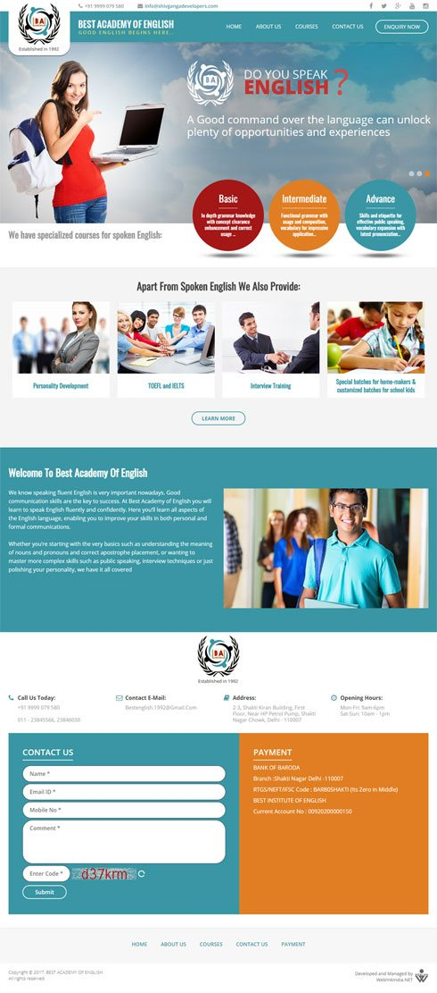 Best Academy Of English India Web Design