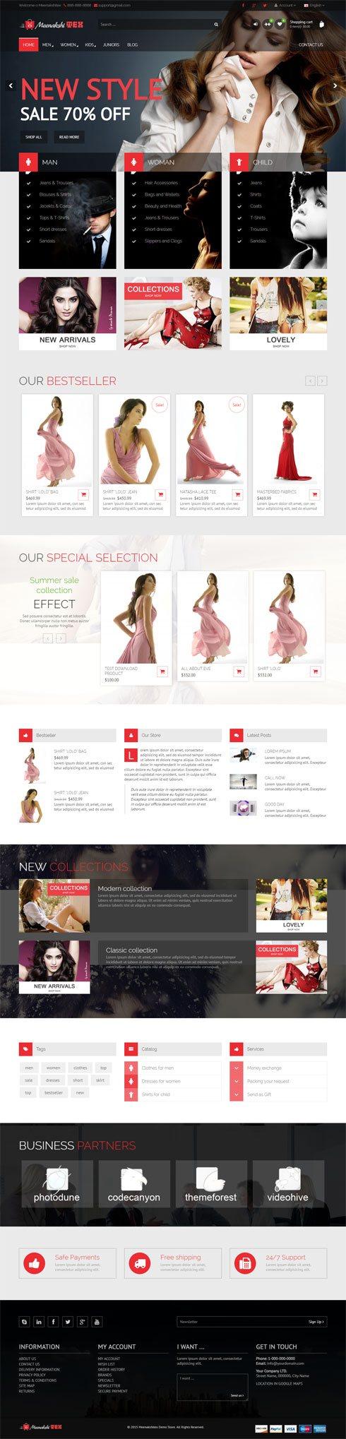 Meenakshitex Demo Store India Web Design